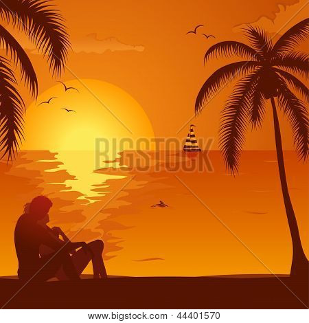 Summer Sunset With Couple