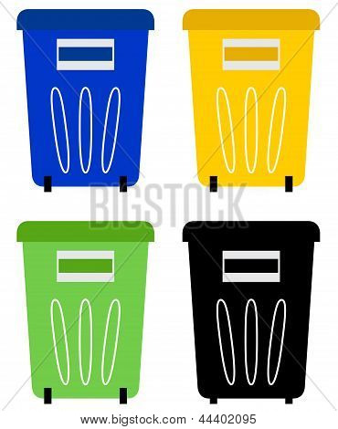 Set Of Colorful Recycle Bins Isolated On White