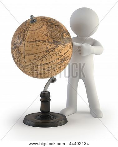 3D Small People - Old Globe Map