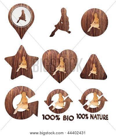 sexy woman icon set of wooden 3d buttons