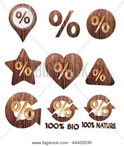 3D render de um conjunto de símbolo de porcentagem natural de madeira botões 3d