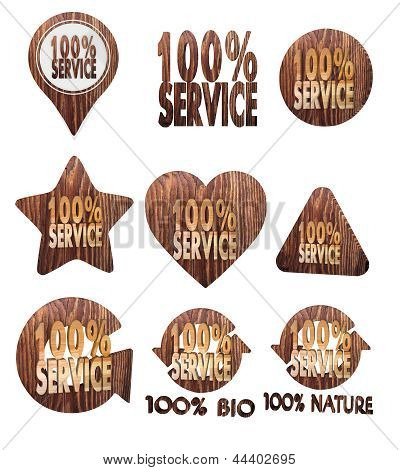 service symbol set of wooden 3d buttons