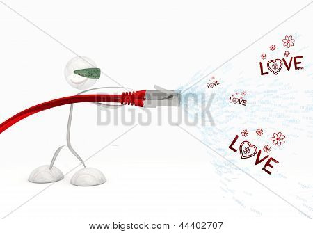 Illustration of a futuristic love icon coming from data cable