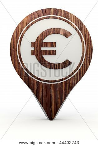 Euro sign on a set of wooden  markers