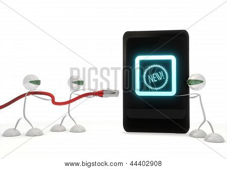 new icon on a smart phone with three robots