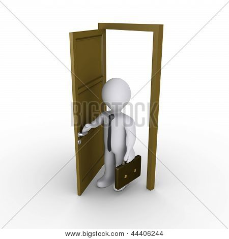 Businessman Is Opening A Door