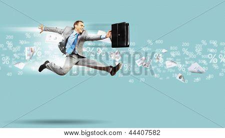 Imagen de un empresario salto alto trasfondo financiero