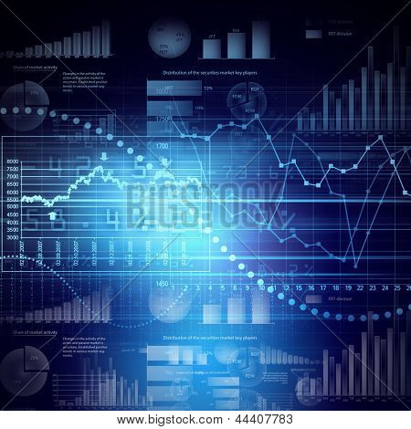 Abstract high tech background with graphs and diagrams