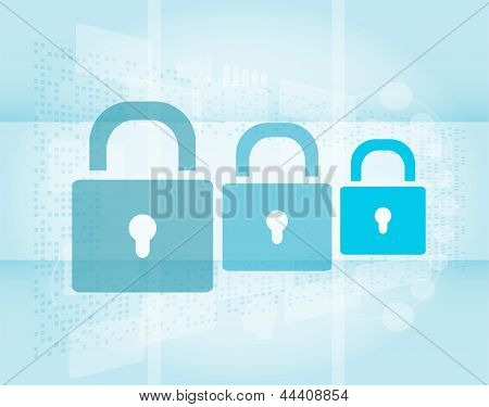Security Concept: Lock Set On Digital Screen, art illustration