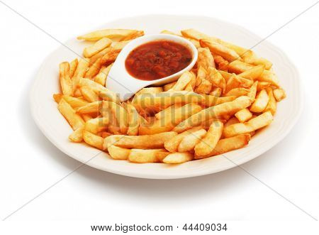 French fries, fried potato with tomato sauce isolated on white background