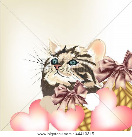 Valentine Greeting Card With Little Cat And Pink Hearts