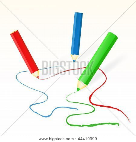 Vector colorida lápis desenho linhas