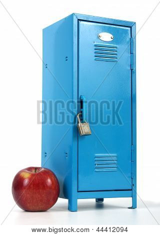 school locker and apple