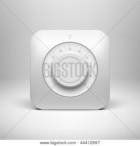 White Technology Volume Button with Scale