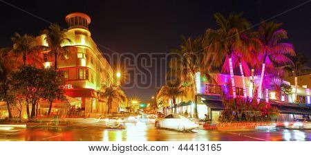 Miami Beach Florida colorful night summer scene