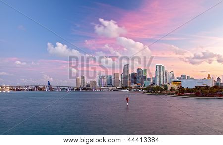 City of Miami Florida colorful sunset panorama of downtown