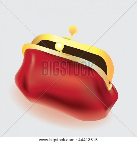 vector red purse on white background