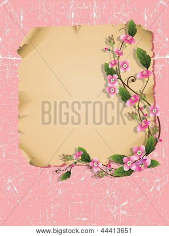 Vector wooden frame with beautiful bouquet flowers.