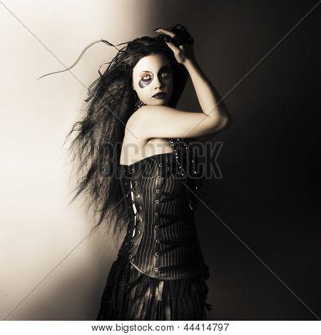 Black Portrait Of A Sexy Fashion Make Up Model