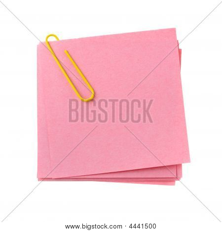 Red Paper Note With Yellow Clinch