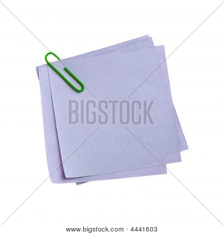 Blue Paper Note With Green Clinch