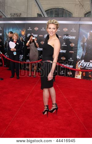 "LOS ANGELES - APR 11:  Scarlett Johansson arrives at ""The Avengers"" Premiere at El Capitan Theater on April 11, 2012 in Los Angeles, CA"