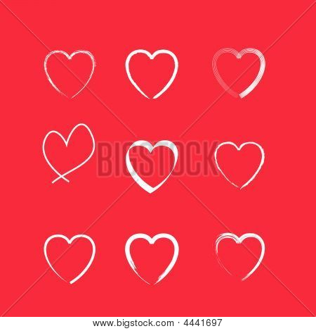 Set Of 9 Heart Icons