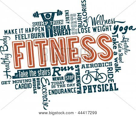 Fitness and Healthy Exercise Word and Icon Cloud