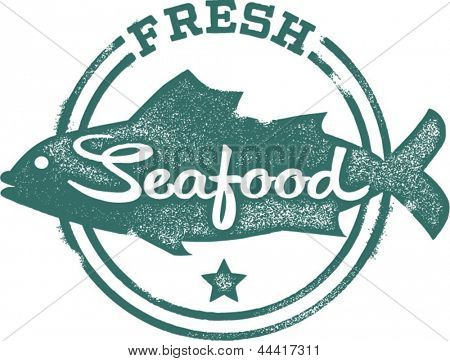 Vintage Style Fresh Seafood Fish Stamp