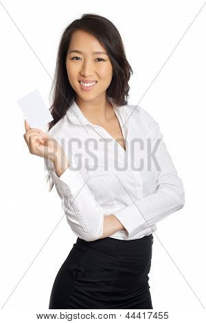 Business Asian Woman Showing Blank Paper
