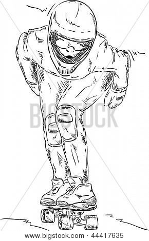 vector - front view - Skaterboarder downhill