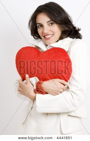Young Attractive Woman With Big Red Heart