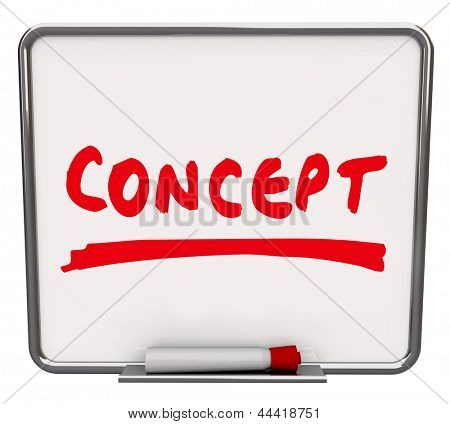 The word Concept written on a dry erase board with a red marker to show an idea, innovation or creative solution to a problem
