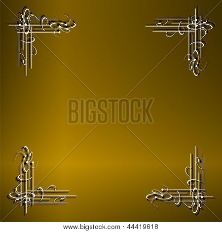 Gold Metal Texture Background With Delicate Pattern, Elegant Gold Plate