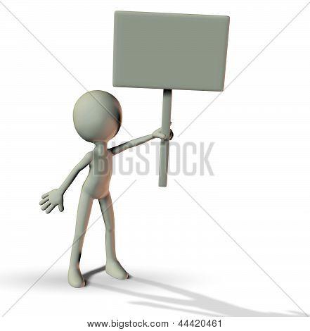 3D Man Holding A Blank Board