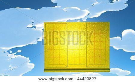 Golden window of opportunity  overlooking  dramatic sky