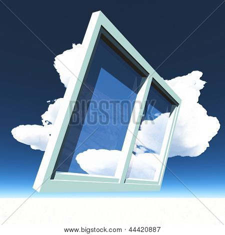 Window of opportunity  with wings overlooking blue  sky  and beautiful summer clouds