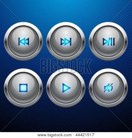 Glossy multimedia control web icon set.