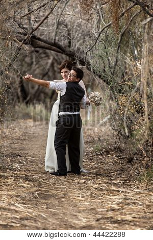 Couple Dancing In Forest