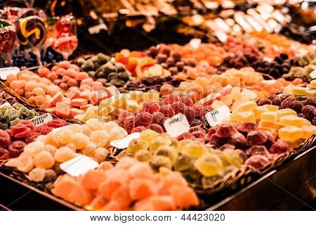 Famous Sweet Candy Market In Barcelona, Spain