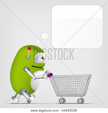 Cartoon Character Cute Robot on Grey Gradient Background. Shopping. Vector EPS 10.