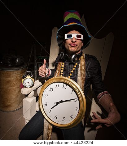 Rapper With Large Clock