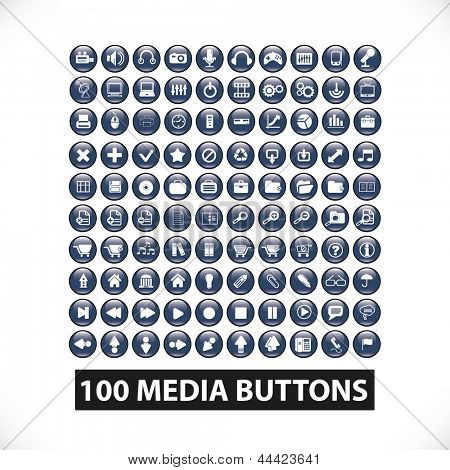 100 media website glossy buttons, vector