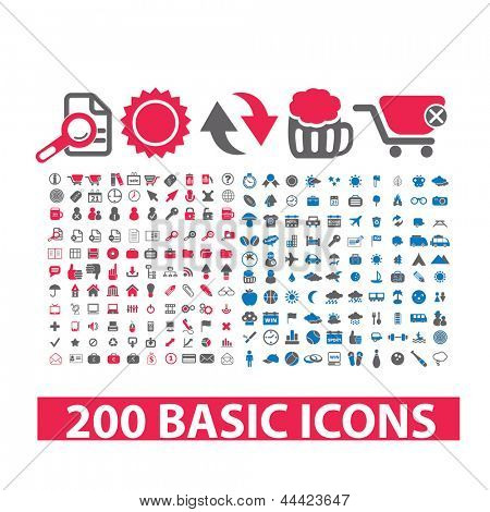 200 basic website icons and signs: vacation, travel, internet, business, office, shopping sets
