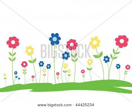 Spring Flowers in the grass - Hand Drawn