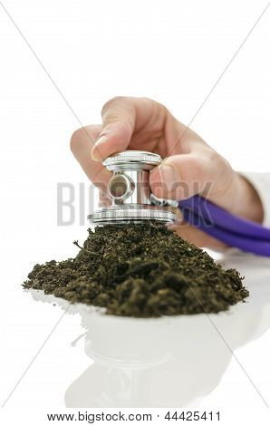 Male Hand Holding Stethoscope On Soil