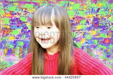 Portrait Of Beautiful Young Girl On The Abstract Picture Background .