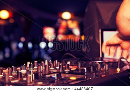 nightclub parties DJ. sound equipment