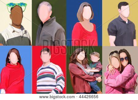 Conjunto de pessoas com Faces em branco