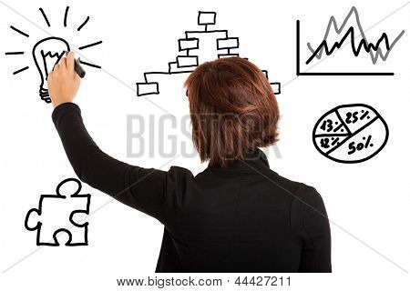 Businesswoman writing a business plan on the wall